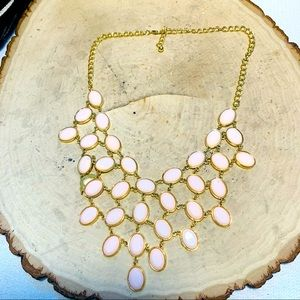 VINTAGE costume Necklace Pink Multi Faceted Stones